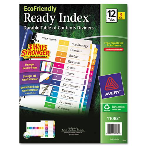 Customizable Table of Contents Ready Index Dividers with Multicolor Tabs, 12-Tab, 1 to 12, 11 x 8.5, White, 3 Sets. Picture 1