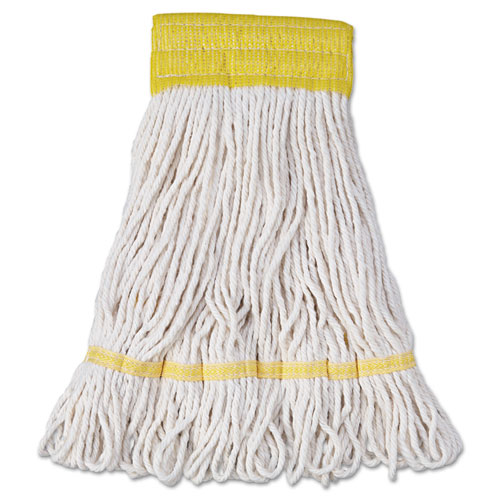 """Super Loop Wet Mop Head, Cotton/Synthetic Fiber, 5"""" Headband, Small Size, White, 12/Carton. Picture 1"""