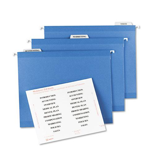 """Tabs Inserts For Hanging File Folders, 1/3-Cut Tabs, White, 3.5"""" Wide, 100/Pack. Picture 2"""