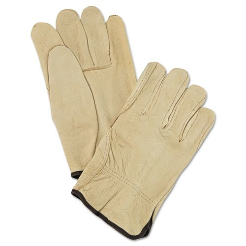 Unlined Pigskin Driver Gloves, Cream, Large, 12 Pairs. Picture 1