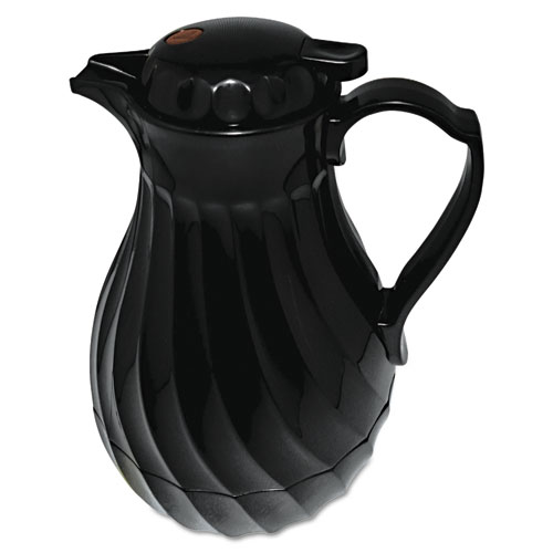 Poly Lined Carafe, Swirl Design, 64oz Capacity, Black. Picture 1