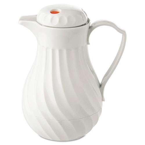 Poly Lined Carafe, Swirl Design, 64oz Capacity, White. Picture 1