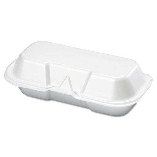 Foam Hot Dog Container, 7 3/8 x 3 9/16 x 2 1/4, White, 125/Bag, 4 Bags/Carton. The main picture.