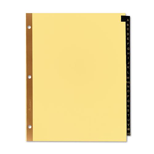 Preprinted Black Leather Tab Dividers w/Gold Reinforced Edge, 25-Tab, Ltr. Picture 7
