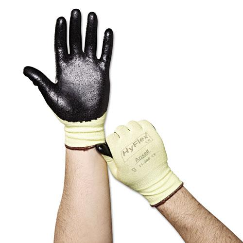 HyFlex Ultra Lightweight Assembly Gloves, Black/Yellow, Size 9, 12 Pairs. Picture 2