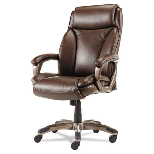 Alera Veon Series Executive High-Back Bonded Leather Chair, Supports up to 275 lbs., Brown Seat/Brown Back, Bronze Base. Picture 1