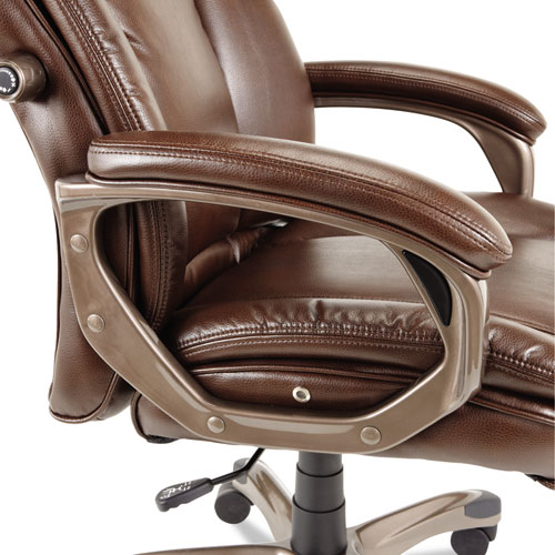 Alera Veon Series Executive High-Back Bonded Leather Chair, Supports up to 275 lbs., Brown Seat/Brown Back, Bronze Base. Picture 8