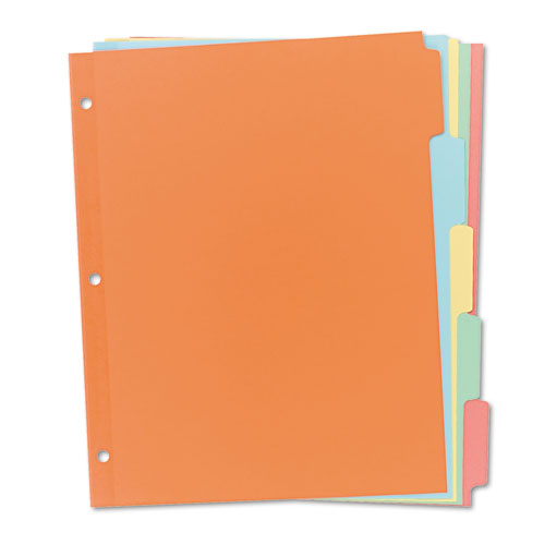 Write and Erase Plain-Tab Paper Dividers, 5-Tab, Letter, Multicolor, 36 Sets. Picture 1