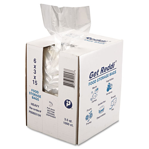 "Food Bags, 3.5 qt, 1 mil, 6"" x 15"", Clear, 1,000/Carton. Picture 2"