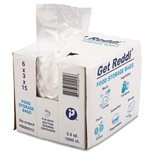 Get Reddi Food & Poly Bag, 6 x 3 x 15, 3.5qt, .68mil, Clear, 1000/Carton. Picture 2