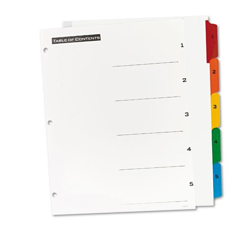 Table 'n Tabs Dividers, 5-Tab, 1 to 5, 11 x 8.5, White, 1 Set. Picture 2