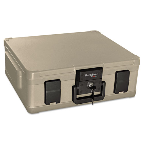 Fire and Waterproof Chest, 0.38 cu ft, 19.9w x 17d x 7.3h, Taupe. Picture 1