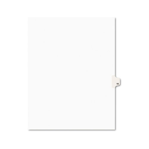 Preprinted Legal Exhibit Side Tab Index Dividers, Avery Style, 10-Tab, 15, 11 x 8.5, White, 25/Pack. Picture 1
