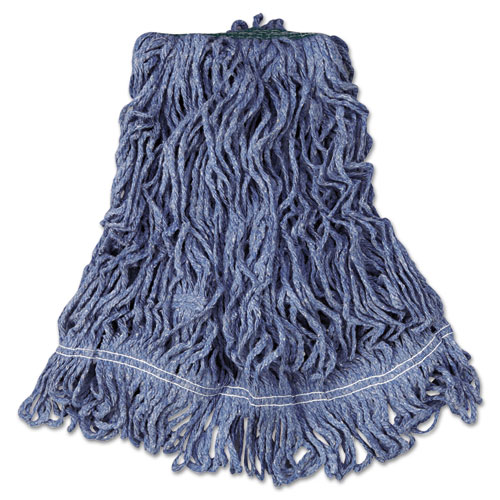 Super Stitch Blend Mop Head, Medium, Cotton/Synthetic, Blue, 6/Carton. Picture 1