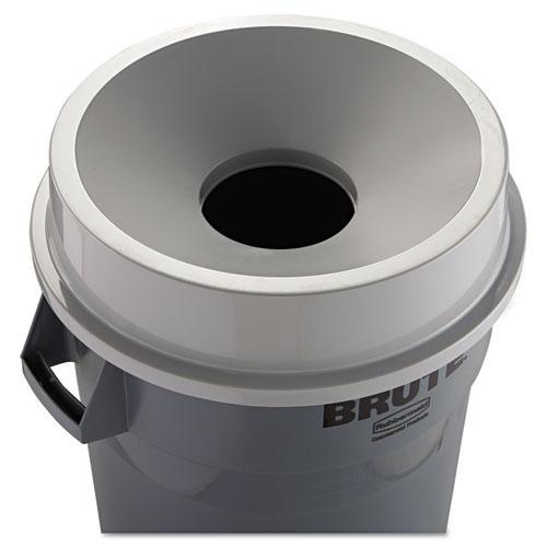 Round BRUTE Funnel Top Receptacle, 22.38w x 5h, Gray. Picture 3