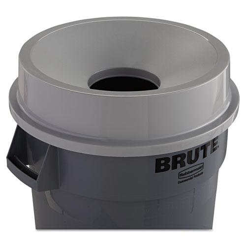 Round BRUTE Funnel Top Receptacle, 22.38w x 5h, Gray. Picture 2