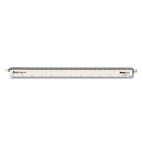 """Adjustable Triangular Scale Aluminum Architects Ruler, 12"""", Silver. Picture 1"""