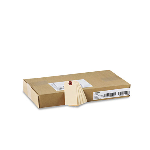 Unstrung Shipping Tags, 11.5 pt. Stock 3.75 x 1.88, Manila, 1,000/Box. Picture 4