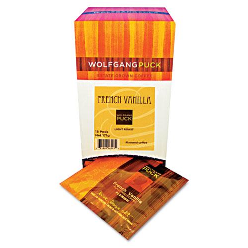 Wolfgang Puck Coffee Pods, French Vanilla, 18/Box