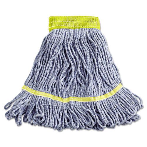 "Super Loop Wet Mop Head, Cotton/Synthetic Fiber, 5"" Headband, Small Size, Blue, 12/Carton. Picture 1"