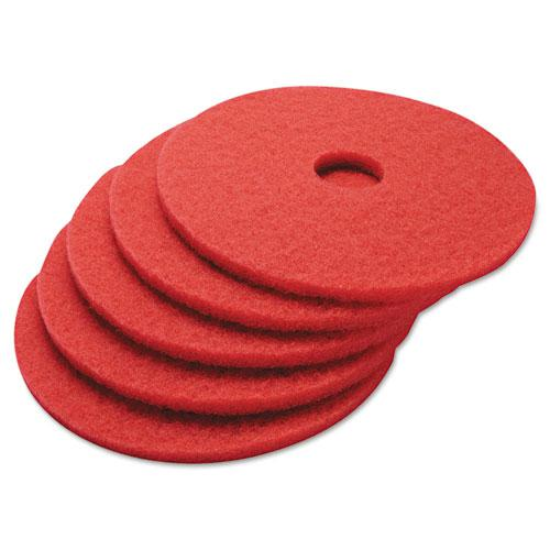 """Buffing Floor Pads, 17"""" Diameter, Red, 5/Carton. Picture 2"""