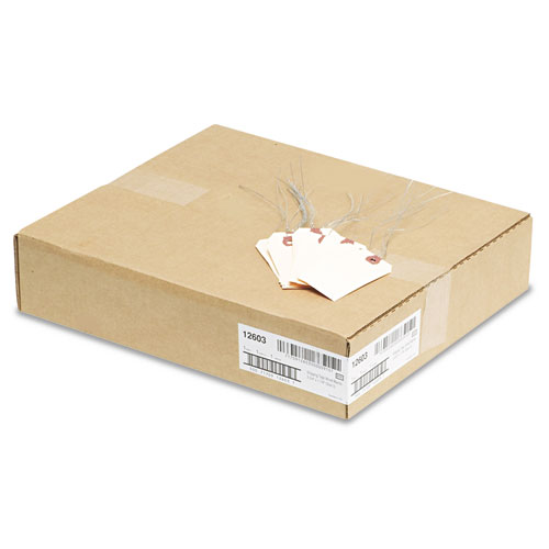 Double Wired Shipping Tags, 11.5 pt. Stock, 3.75 x 1.88, Manila, 1,000/Box. Picture 3