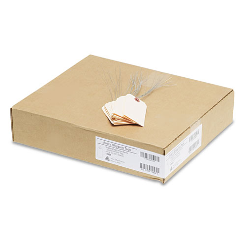 Double Wired Shipping Tags, 11.5 pt. Stock, 4.25 x 2.13, Manila, 1,000/Box. Picture 3