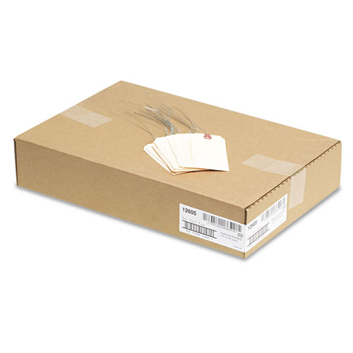 Double Wired Shipping Tags, 11.5 pt. Stock, 4.75 x 2.38, Manila, 1,000/Box. Picture 3