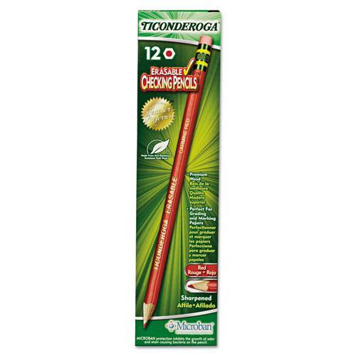 Erasable Colored Pencils, 2.6 mm, 2B (#1), Carmine Red Lead, Carmine Red Barrel, Dozen. Picture 1