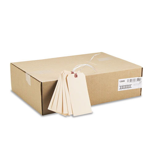 Double Wired Shipping Tags, 11.5 pt. Stock, 6.25 x 3.13, Manila, 1,000/Box. Picture 3