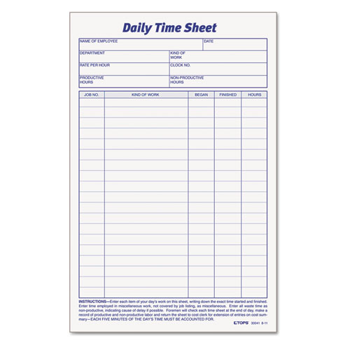 Daily Time and Job Sheets 8 12 x 5 12 200Pad 2Pack