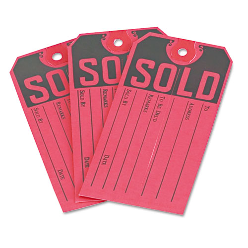 Sold Tags, Paper, 4 3/4 x 2 3/8, Red/Black, 500/Box. Picture 3