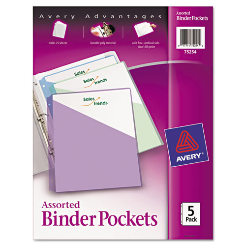 Binder Pockets, 3-Hole Punched, 9 1/4 x 11, Assorted Colors, 5/Pack. Picture 1