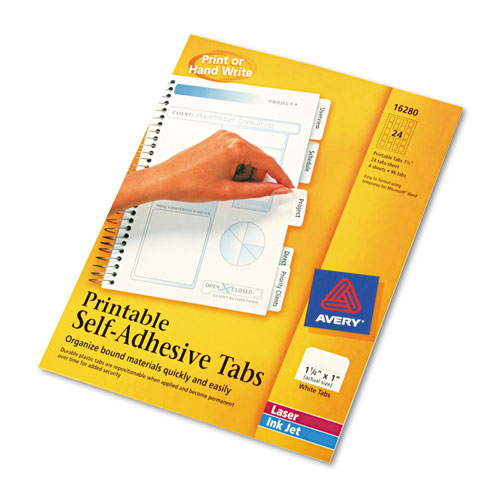 """Printable Plastic Tabs with Repositionable Adhesive, 1/5-Cut Tabs, White, 1.25"""" Wide, 96/Pack. Picture 2"""