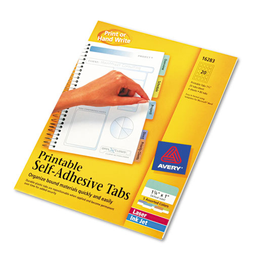 """Printable Plastic Tabs with Repositionable Adhesive, 1/5-Cut Tabs, Assorted Colors, 1.75"""" Wide, 80/Pack. Picture 2"""