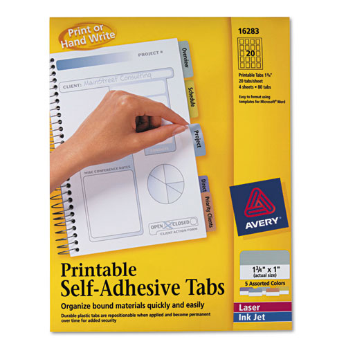 "Printable Plastic Tabs with Repositionable Adhesive, 1/5-Cut Tabs, Assorted Colors, 1.75"" Wide, 80/Pack. Picture 1"
