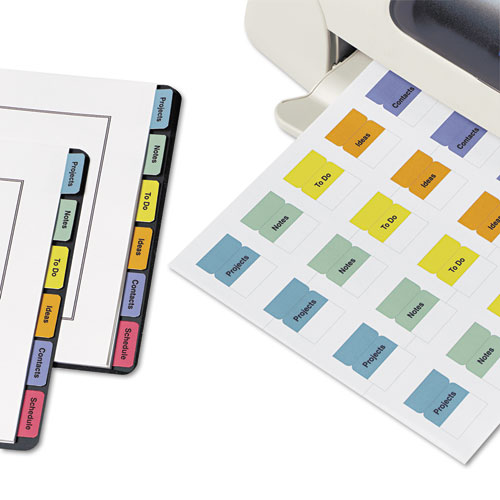 """Printable Plastic Tabs with Repositionable Adhesive, 1/5-Cut Tabs, Assorted Colors, 1.75"""" Wide, 80/Pack. Picture 3"""
