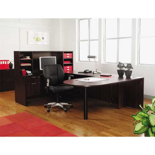 "Alera Valencia Series D-Top Desk, 71"" x 35.5"" x 29.63"", Mahogany. Picture 6"