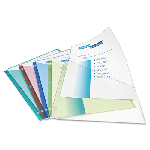 Binder Pockets, 3-Hole Punched, 9 1/4 x 11, Assorted Colors, 5/Pack. Picture 3