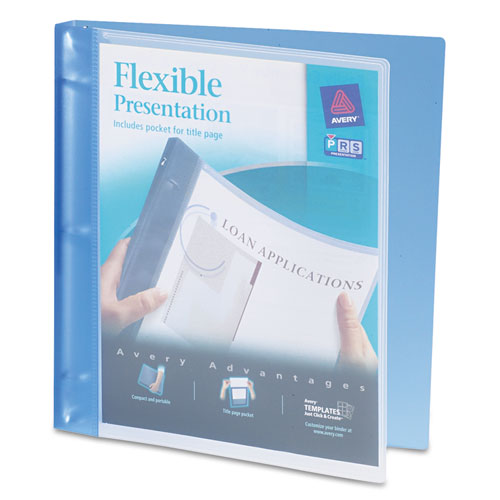 """Flexible View Binder with Round Rings, 3 Rings, 0.5"""" Capacity, 11 x 8.5, Blue. Picture 1"""