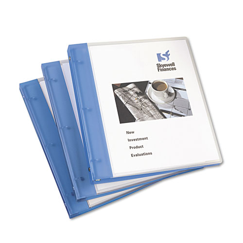 """Flexible View Binder with Round Rings, 3 Rings, 0.5"""" Capacity, 11 x 8.5, Blue. Picture 2"""