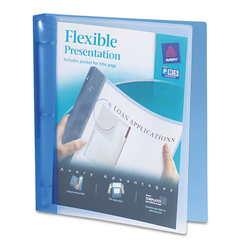 """Flexible View Binder with Round Rings, 3 Rings, 1"""" Capacity, 11 x 8.5, Blue. Picture 1"""