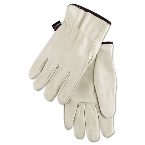 Premium Grade Leather Insulated Driver Gloves, Cream, Large, 12 Pairs. Picture 1