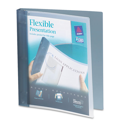 """Flexible View Binder with Round Rings, 3 Rings, 1"""" Capacity, 11 x 8.5, Gray. Picture 1"""