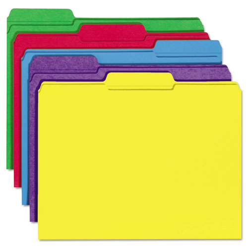 Reinforced Top-Tab File Folders, 1/3-Cut Tabs, Letter Size, Assorted, 100/Box. Picture 2