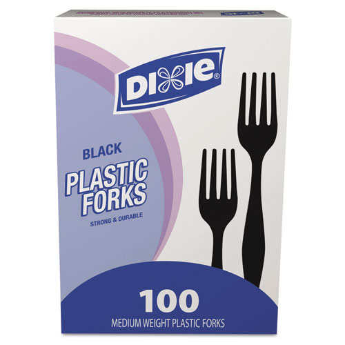 Plastic Cutlery, Heavy Mediumweight Forks, Black, 100/Box. Picture 2