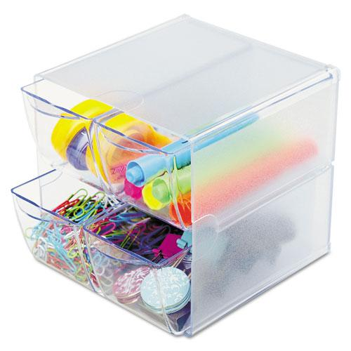 Stackable Cube Organizer, 4 Drawers, 6 x 7 1/8 x 6, Clear. Picture 1