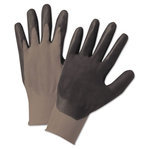 Nitrile-Coated Gloves, Gray/Black, Nylon Knit, Medium, 12 Pairs. Picture 1