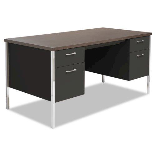 "Double Pedestal Steel Desk, 60"" x 30"" x 29.5"", Mocha/Black. Picture 1"