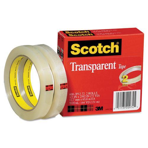 "Transparent Tape, 3"" Core, 0.5"" x 72 yds, Transparent, 2/Pack. Picture 6"